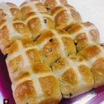 Easy Hot Cross Buns are a wonderful soft, sweet, spiced bun, traditionally made for Easter time. Serve warm or cold, split open, toast and spread some butter and your favourite jam! Delicious!