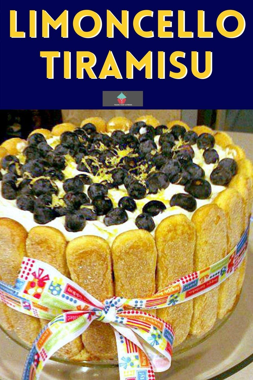 Limoncello Tiramisu. A delicious twist on the classic Italian coffee tiramisu dessert using blueberries, lemon, and limoncello, all homemade and perfect for parties.