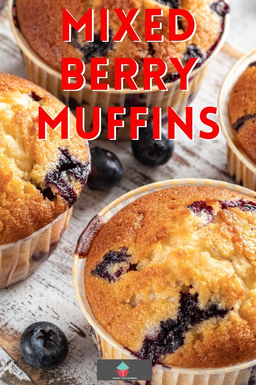Mixed Berry Muffins. Easy recipe for mixed berry muffins, ideal for breakfast and quick to make. Tender and bursting with juicy berries. Use fresh or frozen berries for these fruit muffins