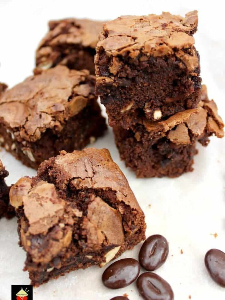 Mocha and Spritz Cookie Brownies. These are a wonderful soft, chewy brownie, flavored with coffee and vanilla spritz cookies. Perfect with a cup of coffee or glass of milk! They'll also make great gifts at Christmas time too!
