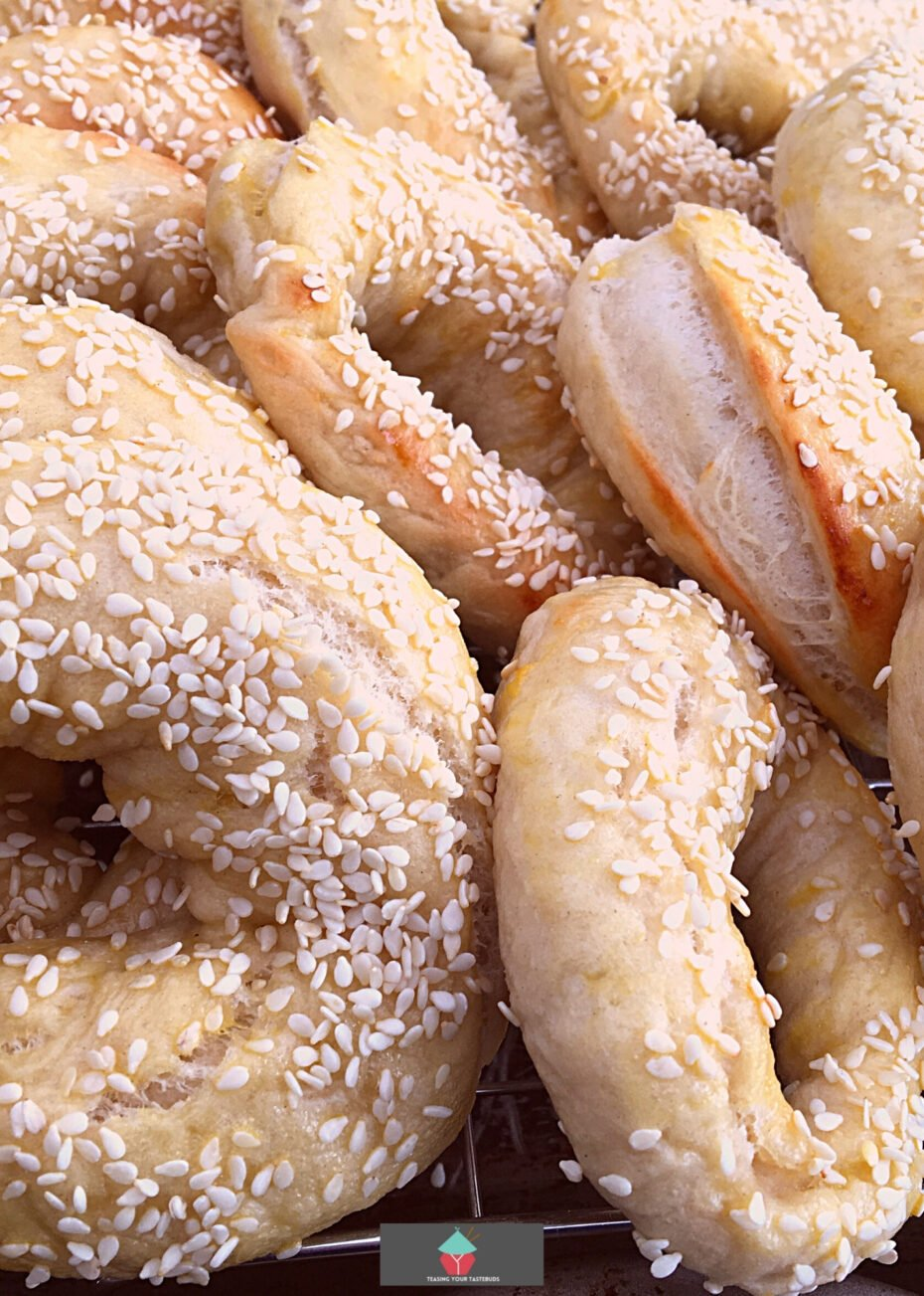 Montreal Style Bagels, delicious homemade bagels. A wonderful soft bread, sweetened with honey and topped with sesame seeds. Easy instructions and freezer friendly too!