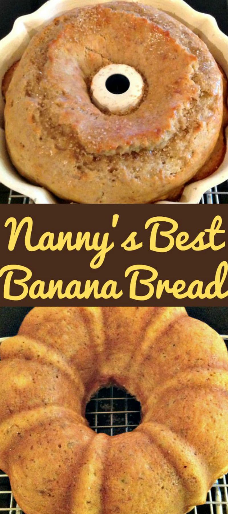 Nanny's BEST Banana Bread is a lovely soft, moist cake and absolutely delicious with the glazed poured over! A nice, easy recipe and freezer friendly too! #nannysrecipes #bananabread #cake