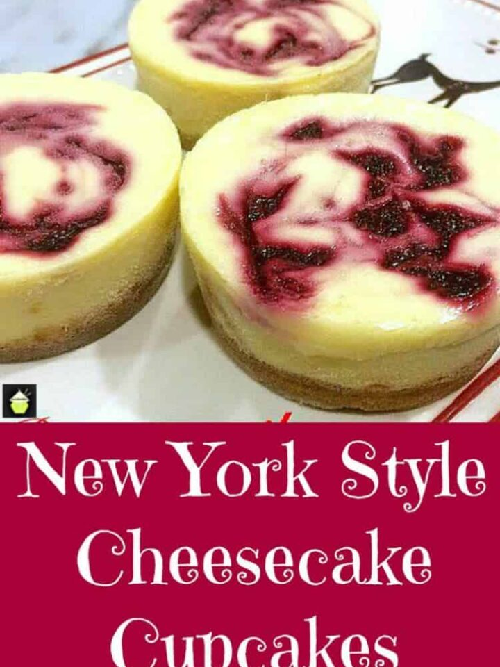 New York Style Cheesecake Cupcakes - A great recipe for baked mini cheesecakes with a delicious fruit sauce