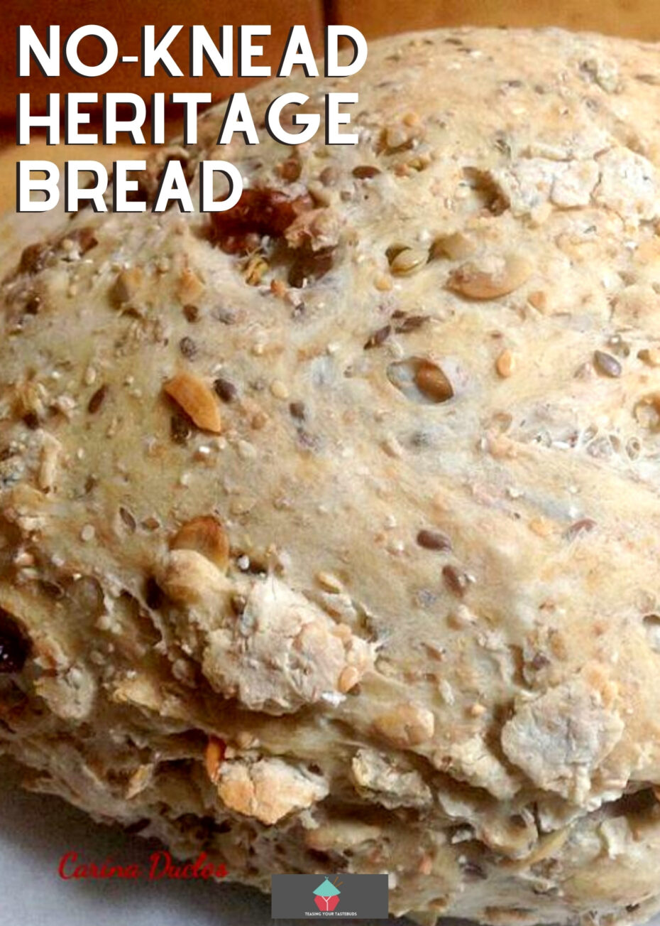 No-Knead Heritage Bread recipe, a lovely soft bread, a mix of white and whole wheat flour, and a variety of seeds. Delicious served warm with a big bowl of soup or simply in slices with a generous spread of butter.