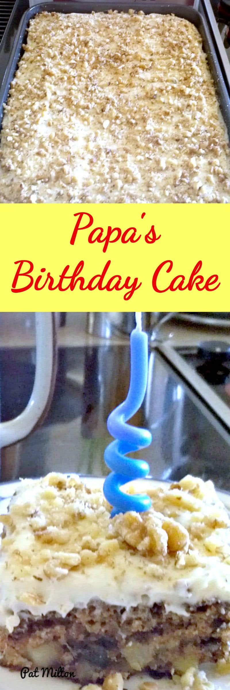 Papa's Birthday Cake is a lovely sheet style cake with pineapple and nuts. There's also a really easy cream cheese frosting for the top of the cake. Perfect for a party!