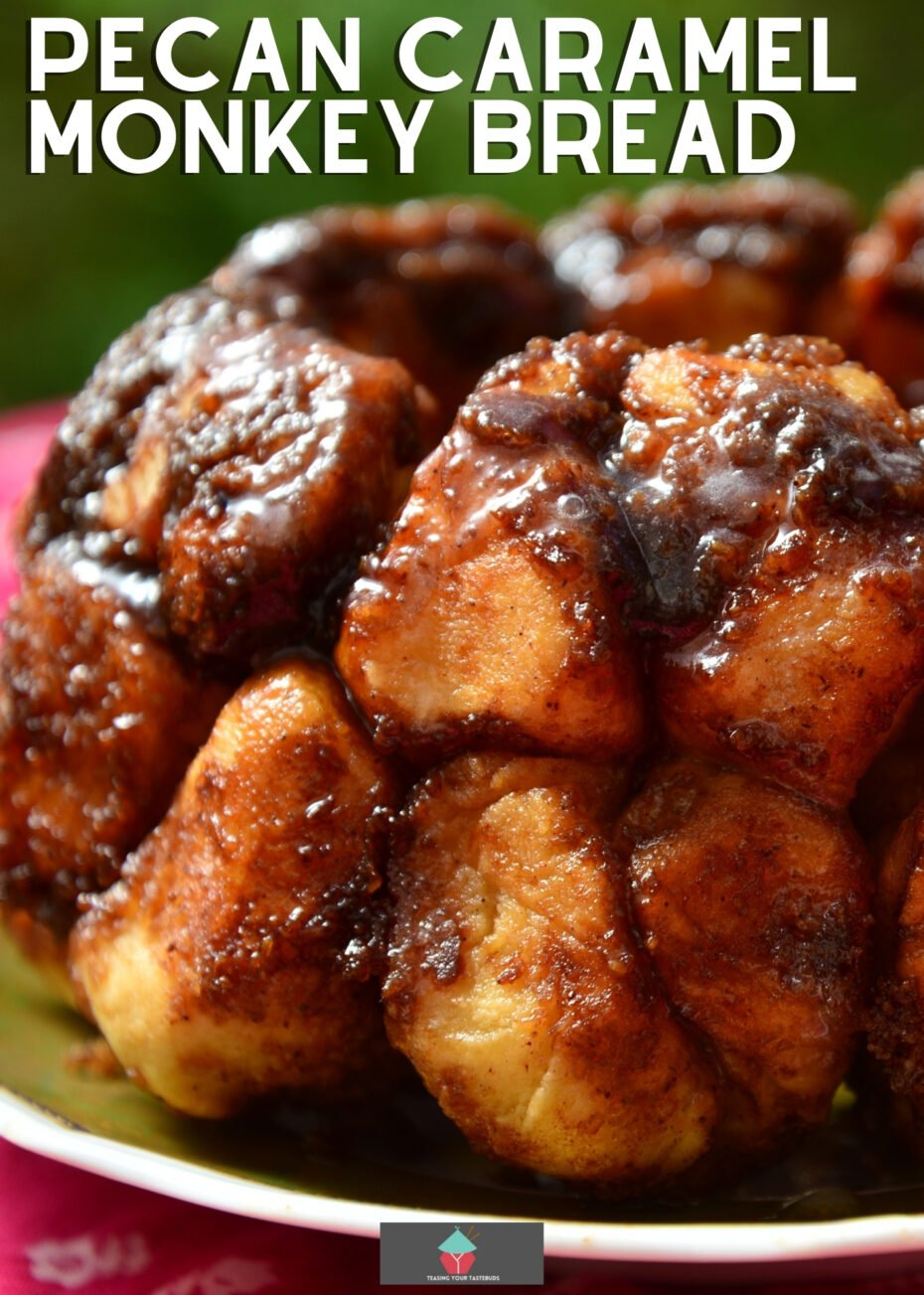 Pecan Caramel Monkey Bread, Easy recipe for how to make it. Sticky caramel coated pieces of bread with a sprinkling of chocolate chips & pecan nuts baked in a bundt pan. A great pull apart bread recipe using store bought biscuits.