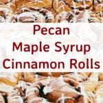 Pecan Maple Syrup Cinnamon Rolls. These are so yummy! These rolls are soft, sticky, loaded with pecans and oozing with delicious Maple Syrup. So delicious served warm from the oven! | Lovefoodies.com