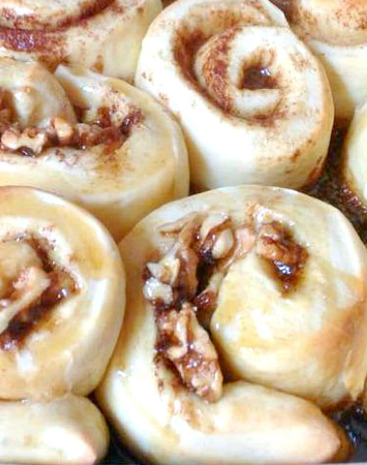 Pecan Maple Syrup Cinnamon Rolls. These are so yummy! These rolls are soft, sticky, loaded with pecans and oozing with delicious Maple Syrup. So delicious served warm from the oven!