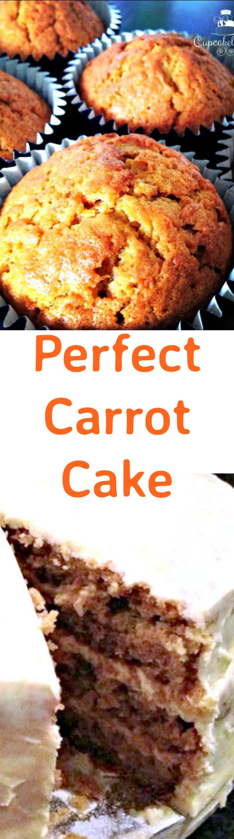 Perfect Carrot Cake - A wonderful moist cake with a delicious orange flavoured frosting. Very popular! Make yourself a cup of tea and enjoy a slice or two! Make a cake or cupcakes. You choose!