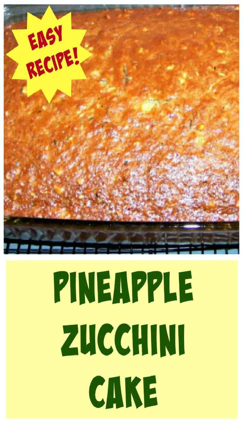 Pineapple Zucchini Cake A wonderful soft, moist and full flavored cake. Smells fabulous when it's baking too!