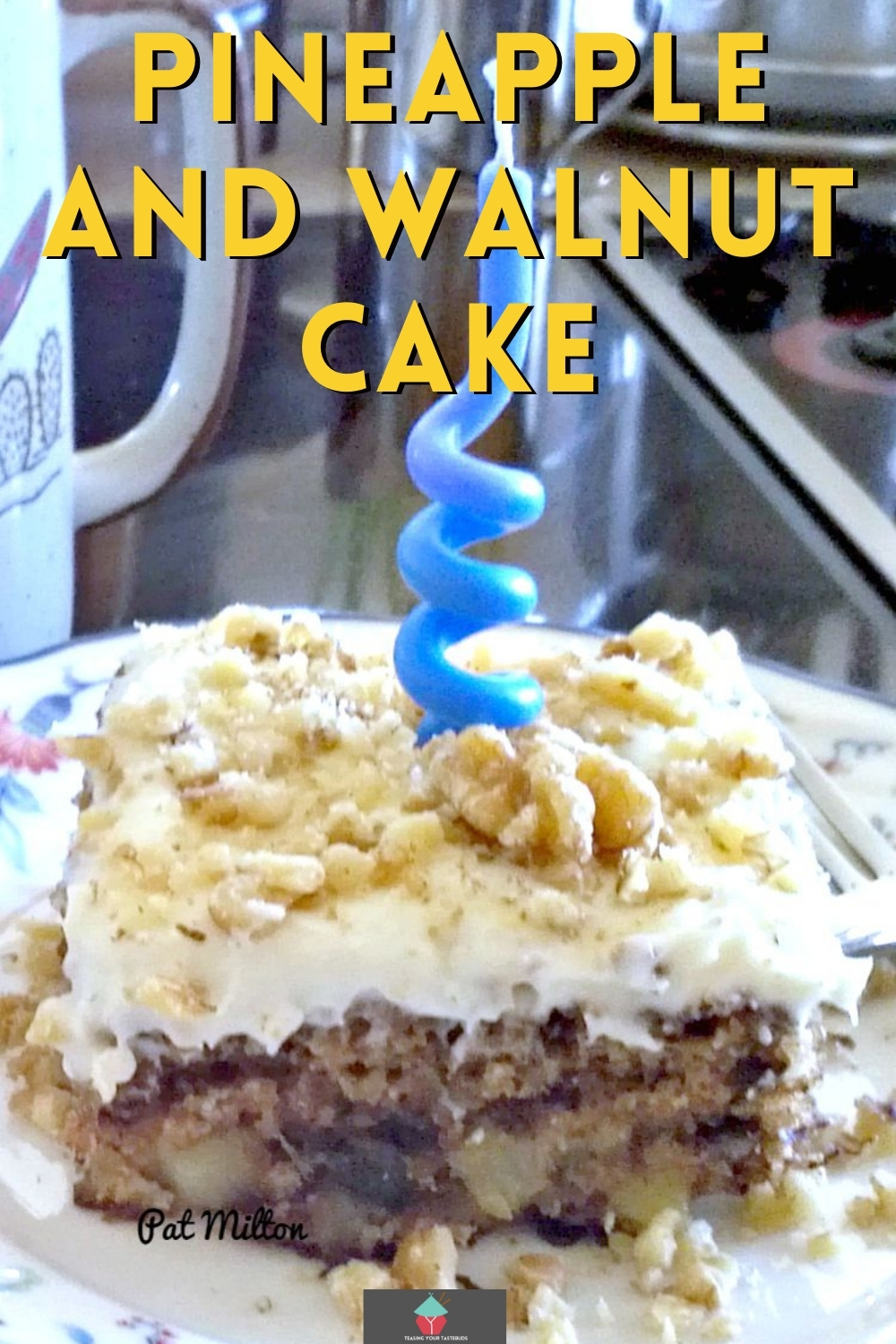 Pineapple and Walnut Cake is a lovely sheet style cake with crushed pineapple and nuts. There's also a really easy cream cheese frosting for the top of the cake