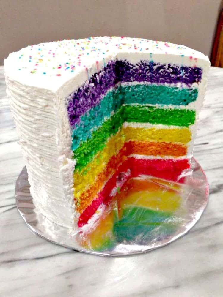 Rainbow Birthday Cake. Come and see the easy to follow recipe to make this wonderful cake. The kids love the surprise when you cut the cake!