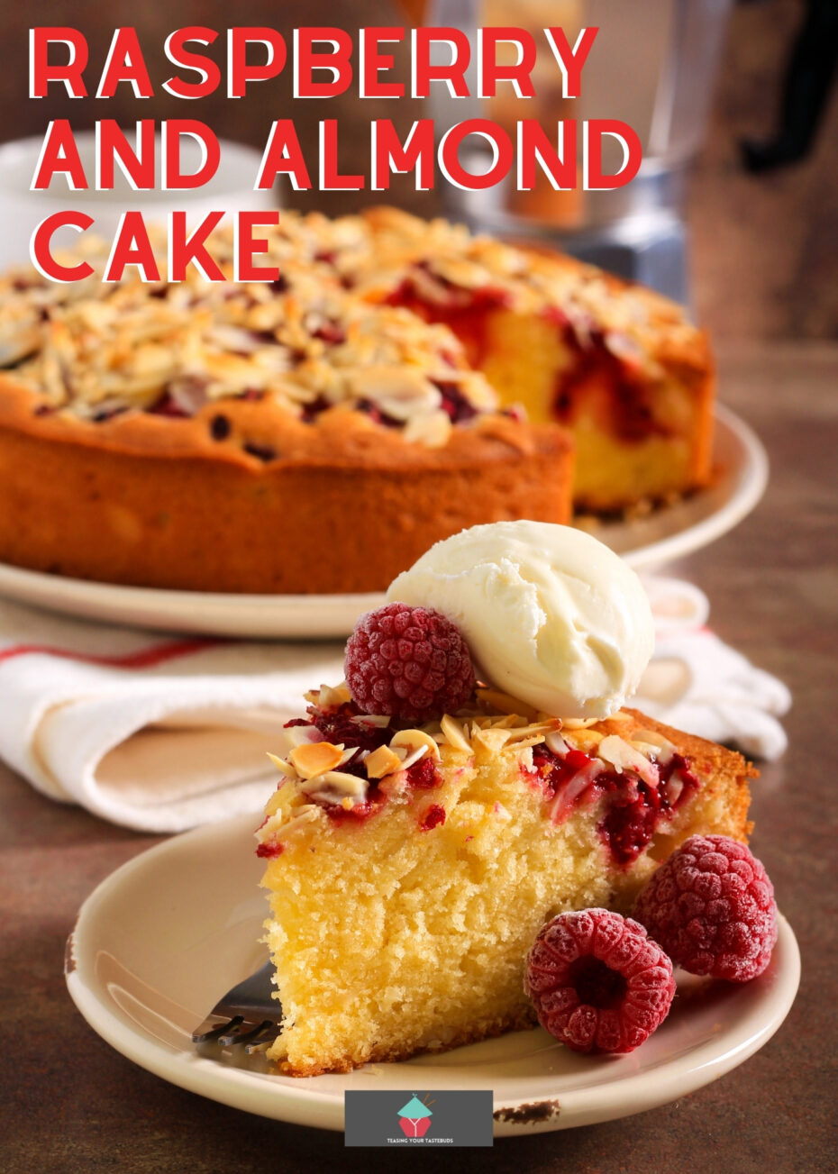 Raspberry and Almond Cake. This Raspberry and Almond Cake is an easy recipe with soft almond sponge with a scattering of fresh raspberries throughout and topped with toasted almonds. A delicious afternoon tea treat.