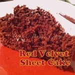 Red Velvet Cake recipe with a lovely cream cheese frosting. Easy recipe and always popular! Make as a sheet or round cake, you decide!