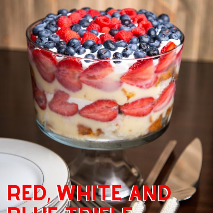 Red, White and Blue Trifle. Red, white and blue trifle is an easy dessert perfect for July 4th celebrations. Delicious layers of cake, fresh blueberries and strawberries, jello and whipped cream