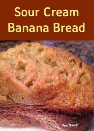 Sour Cream Banana Bread. Soft and delicious cake using sour cream and bananas makes for a lovely easy recipe. Instructions for mini loaves or regular loaf pan!