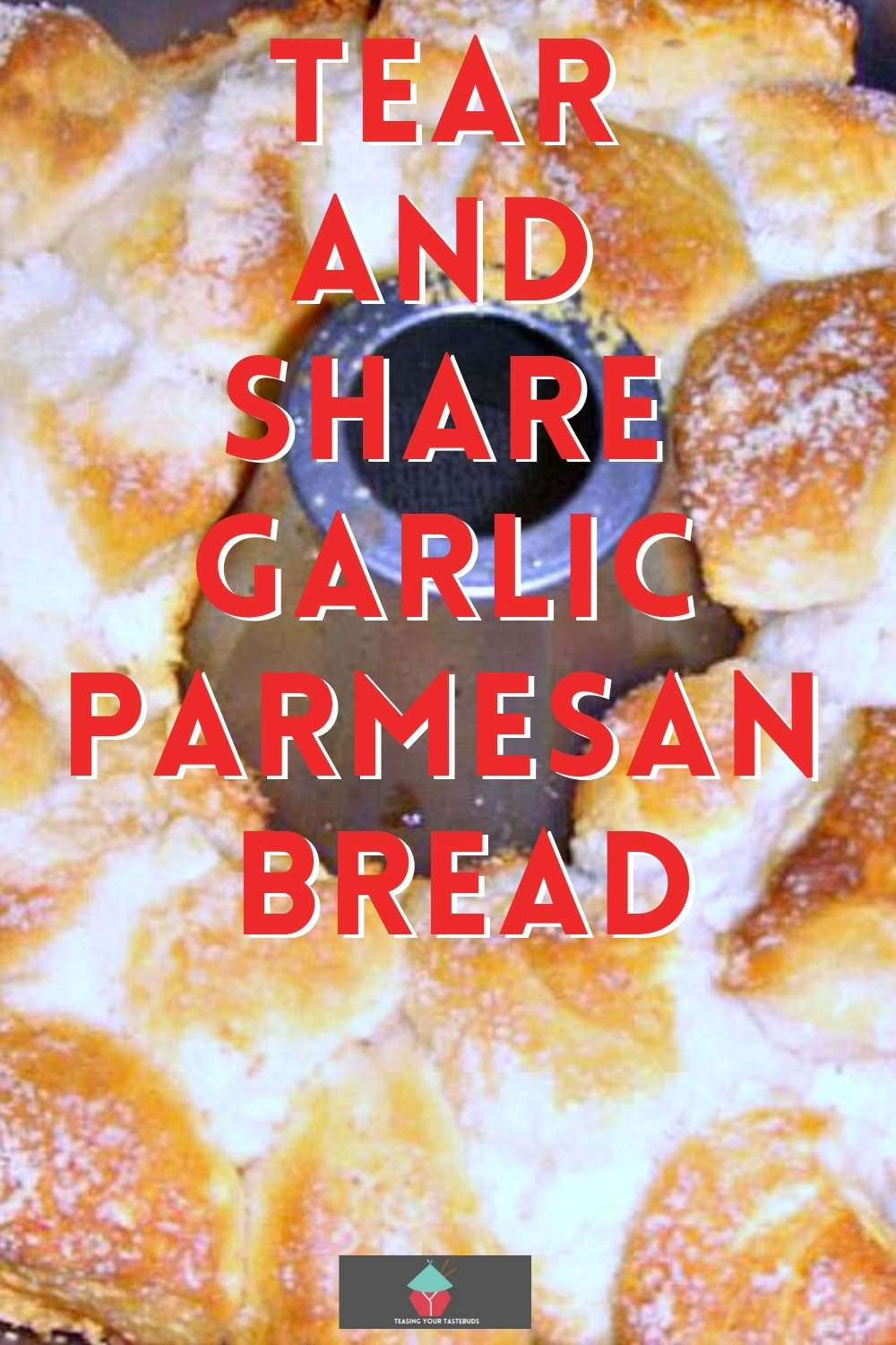 Tear and share garlic parmesan bread, loaded with cheese and garlic, using refrigerated biscuits, baked in a bundt pan. A perfect side dish to share at a party