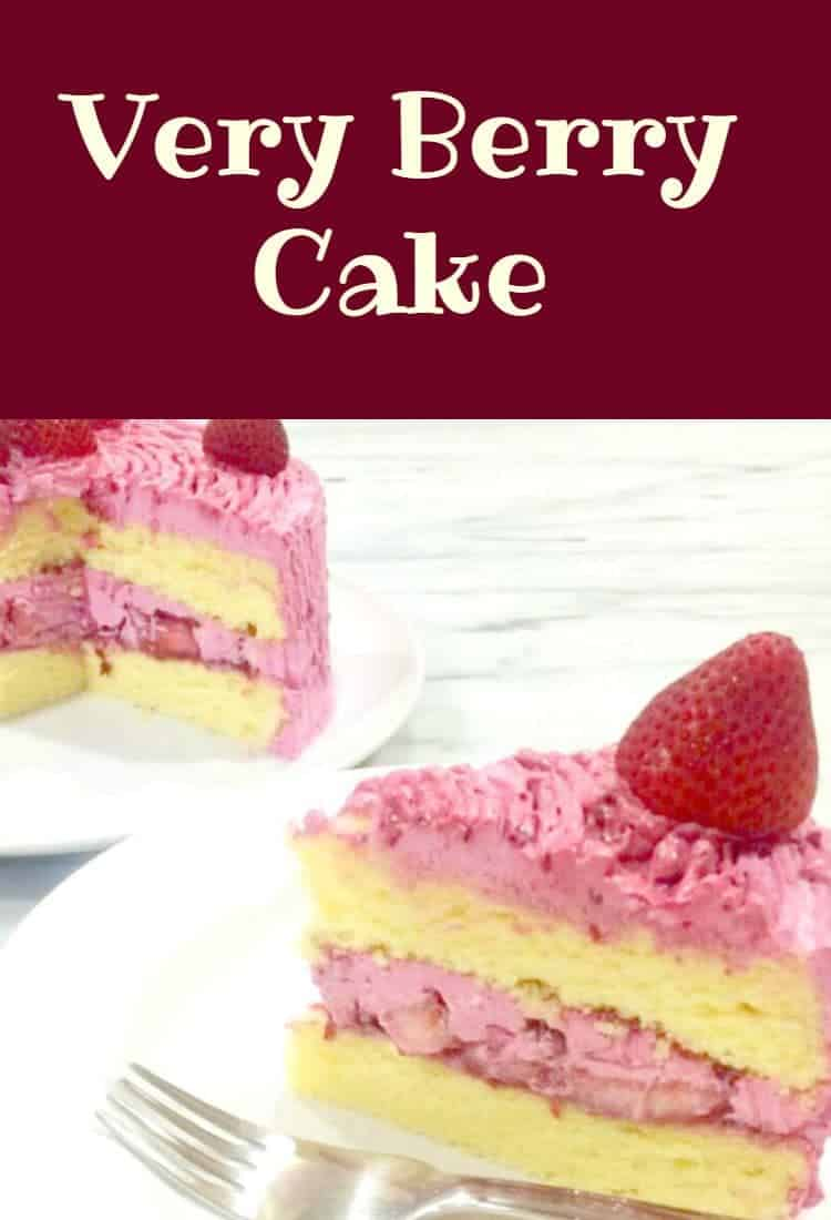 Very Berry Cake! A wonderful moist cake with a delicious berry frosting inside and out. The berries give the cake such a pretty color too!