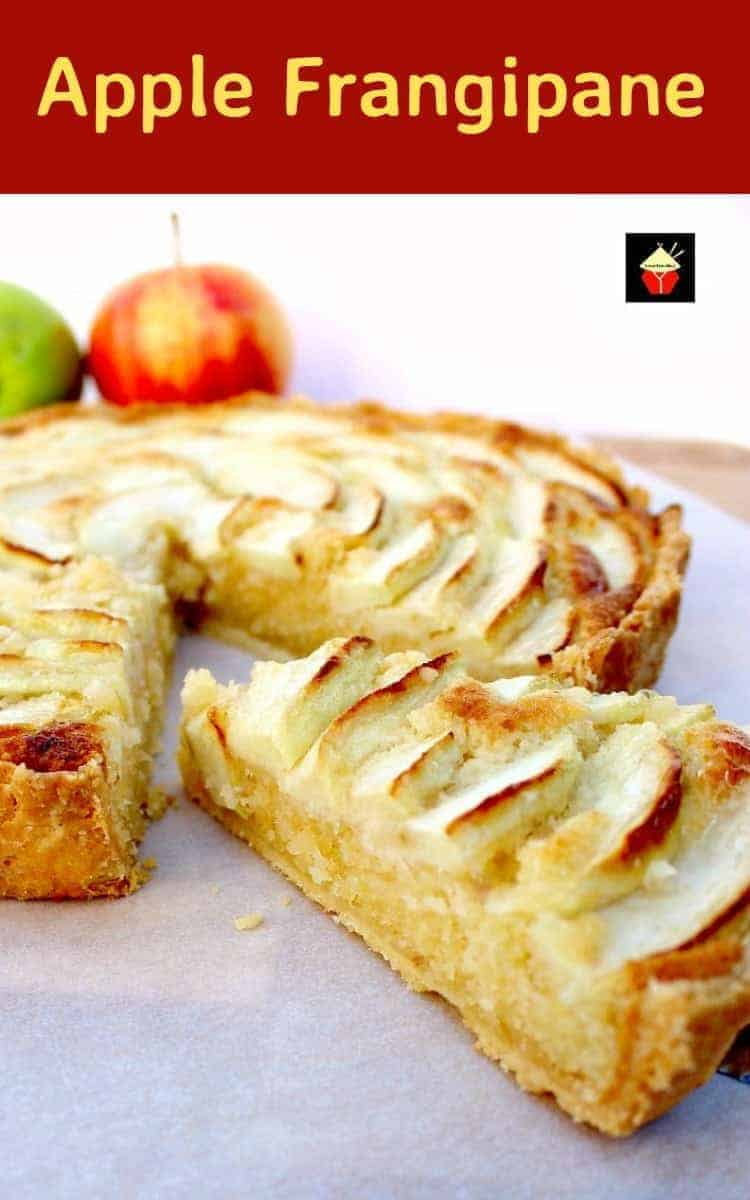 Apple Frangipane. This is a really nice coffee time cake to make. Goes great with a nice cup of tea! Or you can have as a dessert, warm or cold with a squirt of whipped cream or like me, a blob of vanilla ice cream! It's really yummy! Delicious!