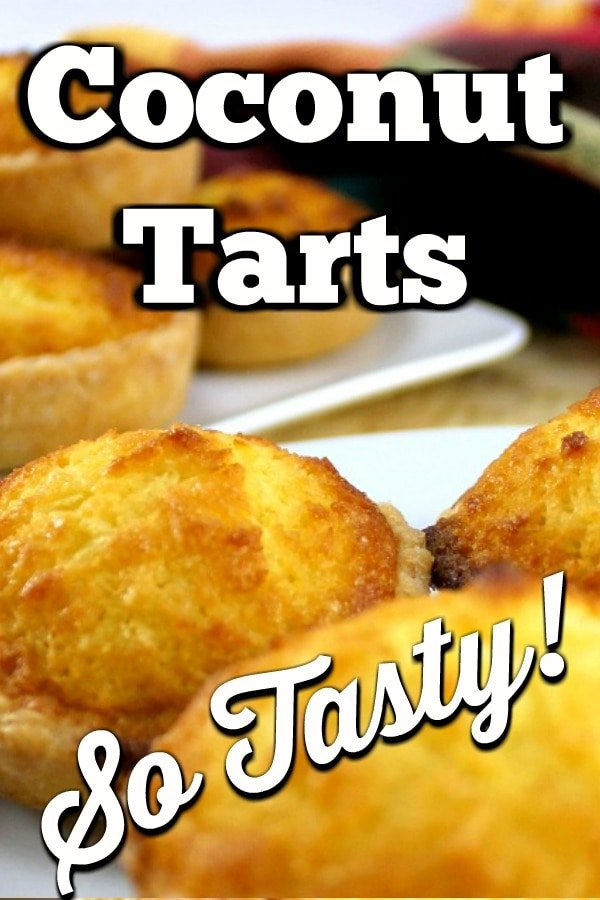 Coconut Tarts! These are a wonderful little tart, filled with a moist coconut egg custard filling. Great for the family and if you're making these for a party, be sure to make plenty! Freezer friendly too!