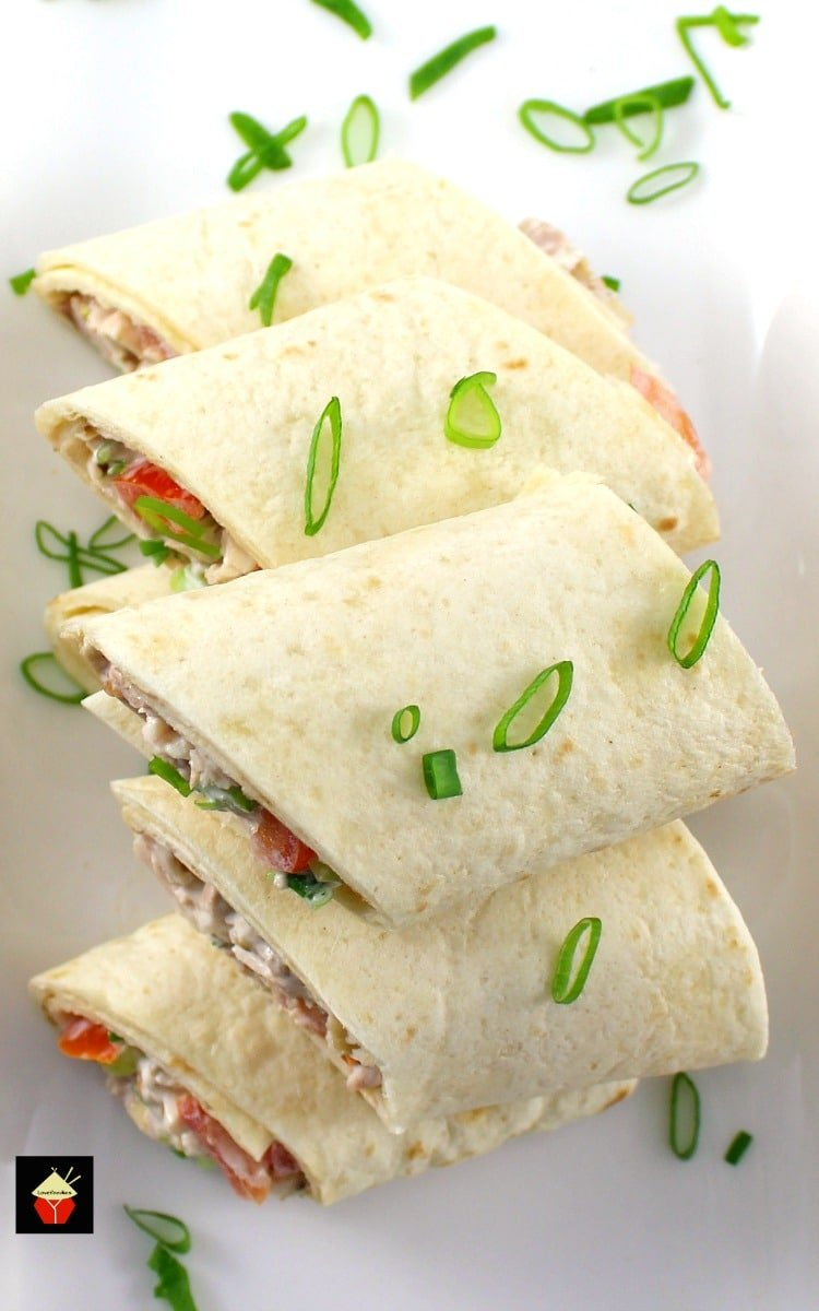 Deluxe Chicken Salad Wraps. These little wraps are great for parties, lunches, suppers, or any time! It's a great way to use up left over chicken (or turkey), and the recipe is nice and easy, with no fuss. Delicious!   Lovefoodies.com