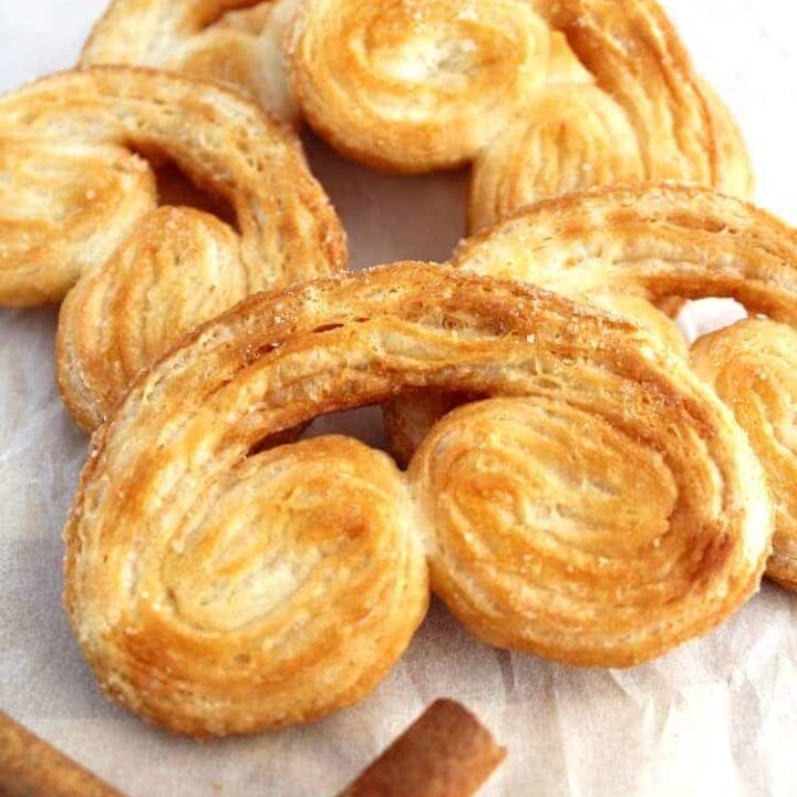 Easy French Palmier Cookies. A.K.A. ELEPHANT EARS! These are a very easy light, crispy, flaky cookie, made up of simply 3 ingredients. Quick to make and very flexible with flavors. A classic elegant French cookie recipe