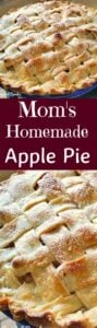 Mom's Homemade Apple Pie. A wonderful old family recipe, simple ingredients, easy to make and delicious every time! Perfect for a regular family dessert, or to take to pot lucks, Thanksgiving, or anytime! |Lovefoodies.com