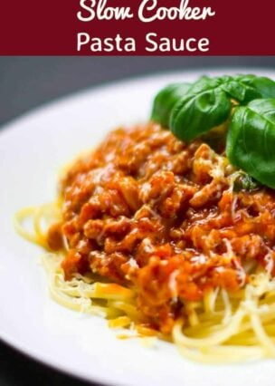 Slow Cooker Pasta Sauce?with fresh herbs, tomatoes and Italian Sausage. Delicious homemade goodness and freezer friendly too!