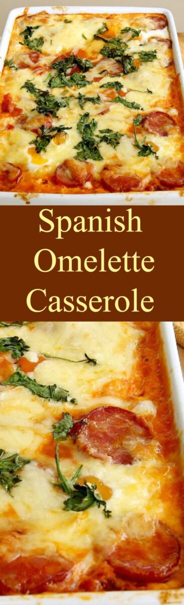 Spanish Omelette Casserole. A very easy and flexible baked casserole with eggs, cheese, potatoes and sausage. Suggestions for you to choose other ingredients to make it just how you like! Serve warm or chilled, suitable for a main meal or party food. You choose! Great for using up leftover roast dinners too! | Lovefoodies.com