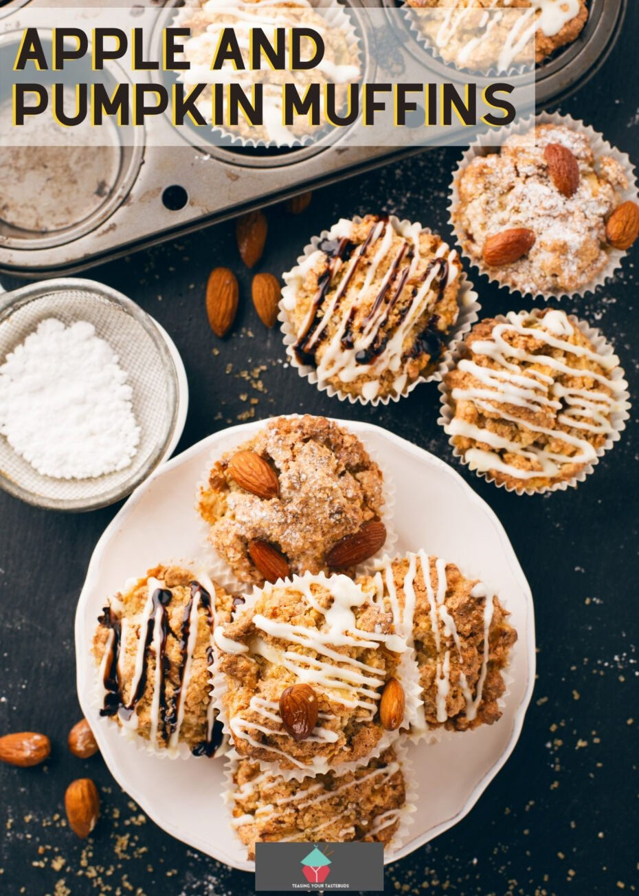 Apple and Pumpkin Muffins! These breakfast muffins are full of the flavors of Fall with pumpkin, apple and cinnamon with a delicious streusel topping. A really easy recipe and that topping is so good!