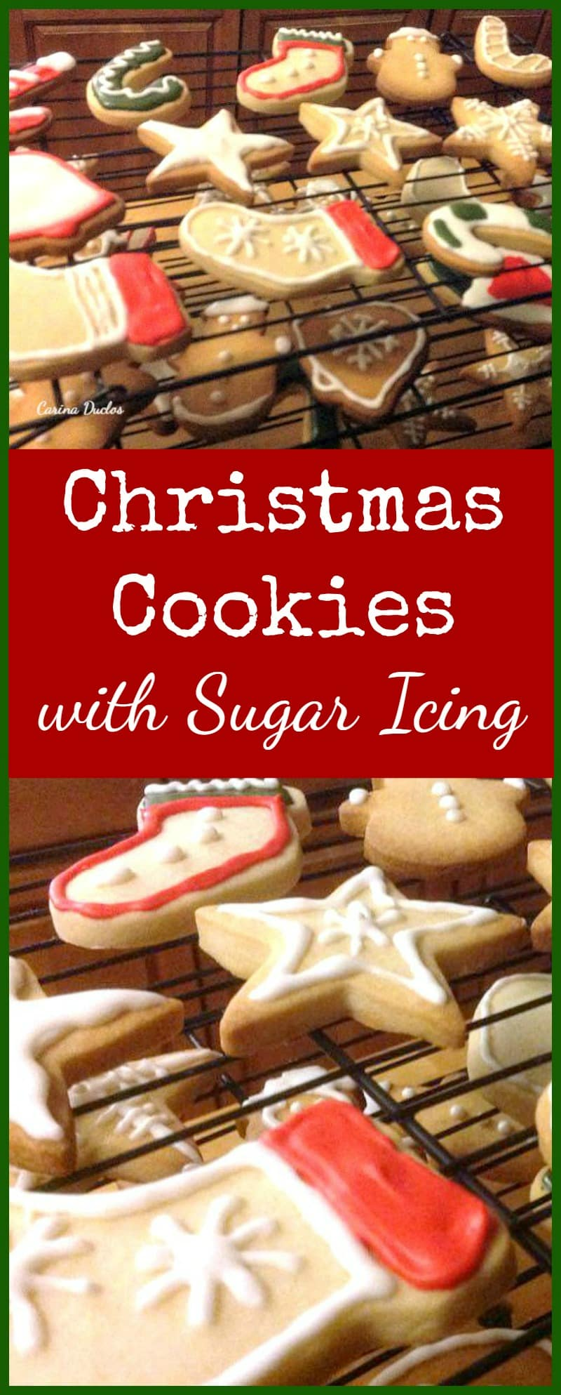 Christmas Cookies with Sugar Icing. These little cookies are such fun to make! Get ready for the holidays and make up a batch. Great for gifts and there's a recipe for a super easy sugar icing too. | Lovefoodies.com