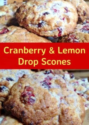Cranberry and Lemon Drop Scones. These are a wonderful little scones using left over cranberry sauce. They're great tasting, soft and moist. Delicious served warm or cold with a spread of butter! Only take minutes to make and incredibly easy!   Lovefoodies.com