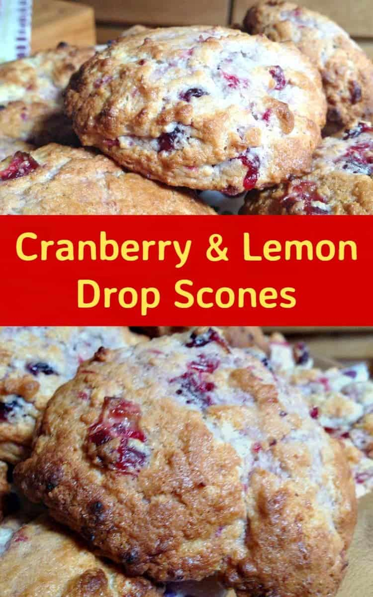 Cranberry and Lemon Drop Scones. These are wonderful little scones using left over cranberry sauce. They're great tasting, soft and moist. Delicious served warm or cold with a spread of butter! Only take minutes to make and incredibly easy! | Lovefoodies.com