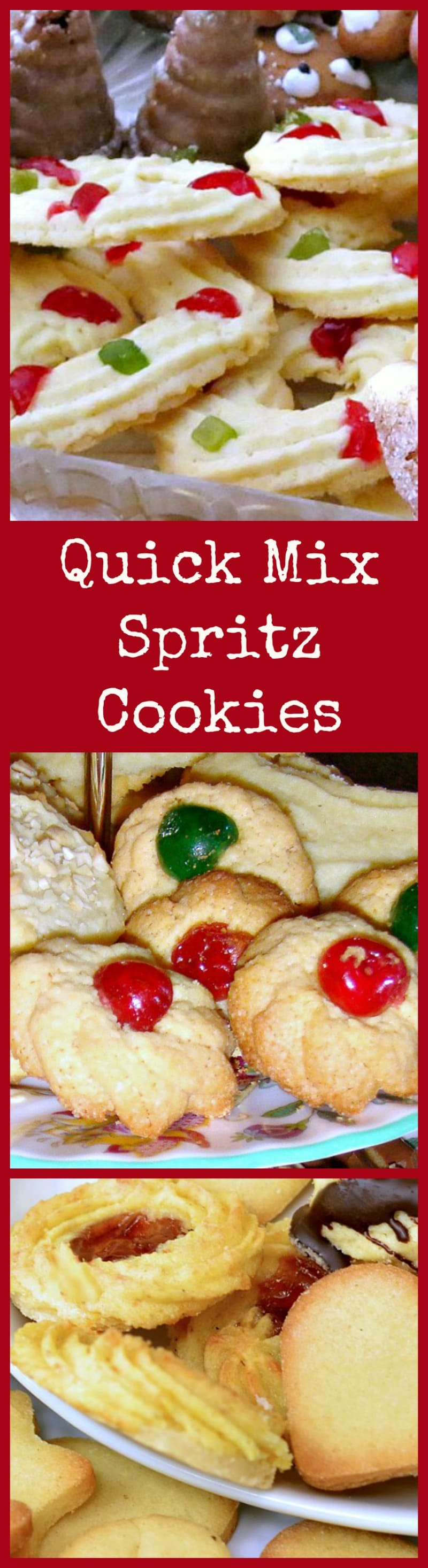 Quick Mix Spritz Cookies. These little cookies have a wonderful vanilla flavor and melt in your mouth. Easy to make! Get creative and make different shapes ready for Christmas! | Lovefoodies.com