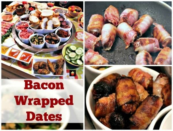 Bacon Wrapped Dates. These make for wonderful party food or part of a Tapas meal and incredibly easy to make. the sweet and salty flavor combination is so delicious! | Lovefoodies.com
