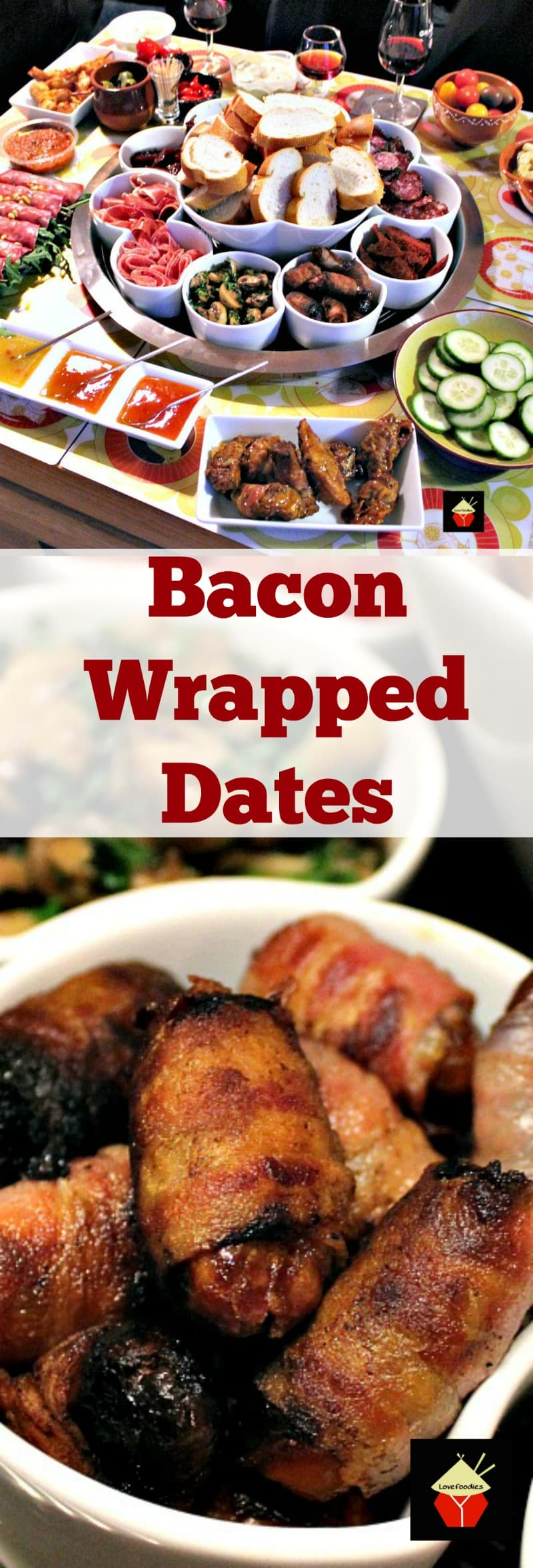Bacon Wrapped Dates. These make for wonderful party food or part of a Tapas meal and incredibly easy to make. the sweet and salty flavor combination is so delicious! Tapas and Party Food Collection | Lovefoodies.com