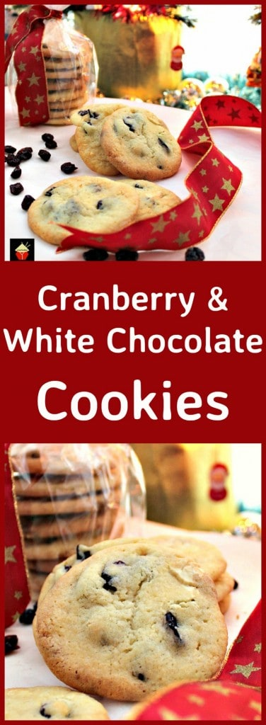 Cranberry and White Chocolate Cookies. A lovely easy recipe and great for gift packages at Christmas!   Lovefoodies.com