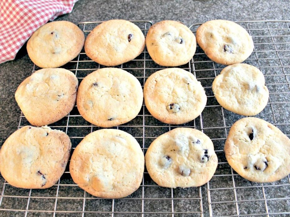 Cranberry and White Chocolate Cookies. Place on cooling rack