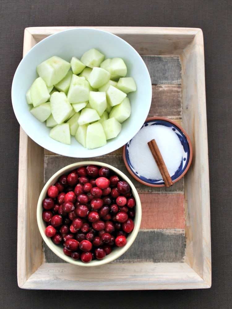 Simple Cranberry and Apple Sauce, showing ingredients