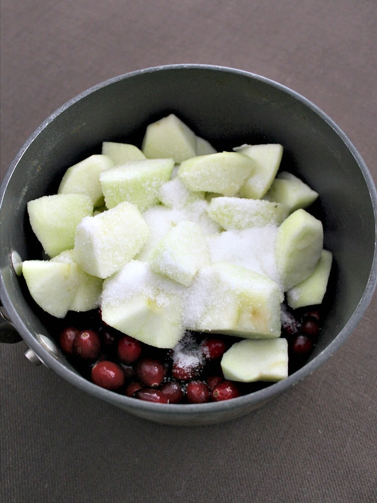 Simple Cranberry and Apple Sauce, adding ingredients to the pan