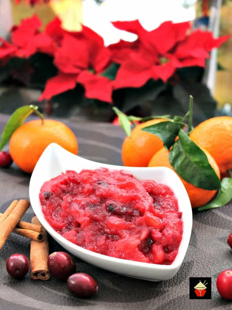 Simple Cranberry and Apple Sauce. A very easy recipe and goes great with a turkey dinner! Use as a sauce or marinade, add in wraps, salads, the possibilities are endless. Make ahead, freezer friendly and make great gifts in little jars too! Thanksgiving and Christmas Collection | Lovefoodies.com