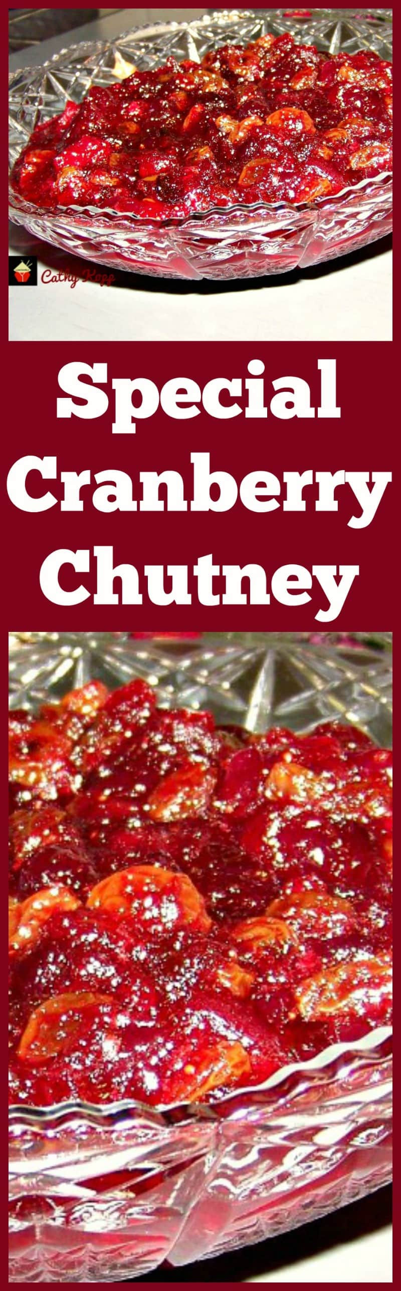 Special Cranberry Chutney. This is a wonderful recipe full of goodies! Loaded with cranberries, apple, orange, golden raisins and pecans. Only takes a very short time to make and great for freezing too! Serve as part of a dinner or with cold cuts. Always a hit at parties. | Lovefoodies.com