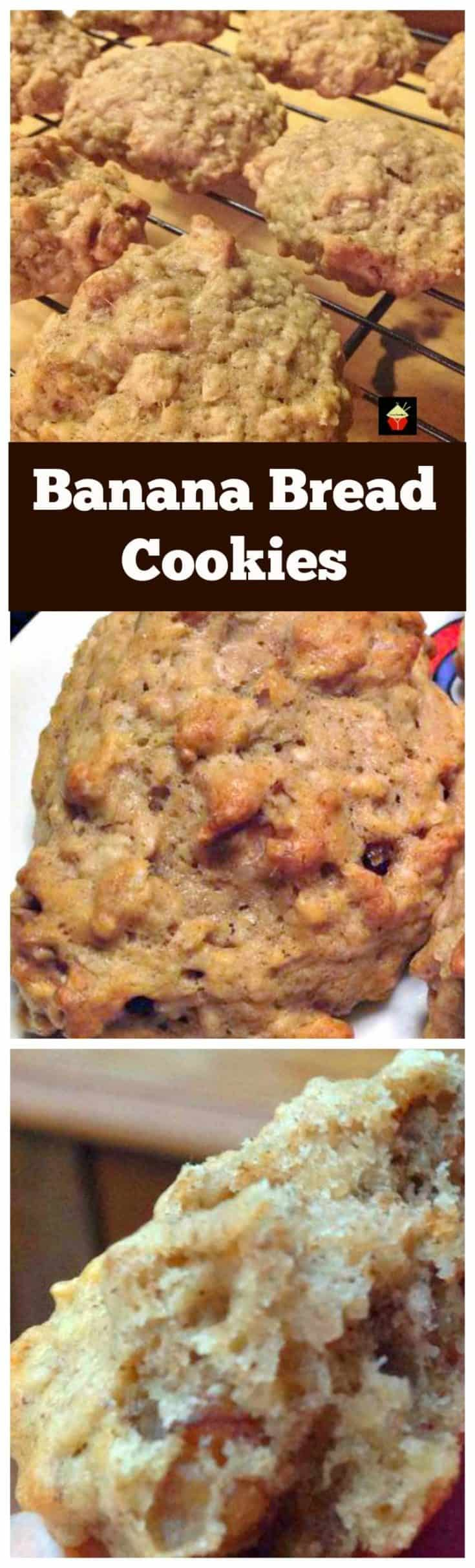 Banana Bread Cookies. Yep... banana bread in a cookie! Easy and flexible recipe. Great for snacks, breakfast, lunch boxes or anytime!