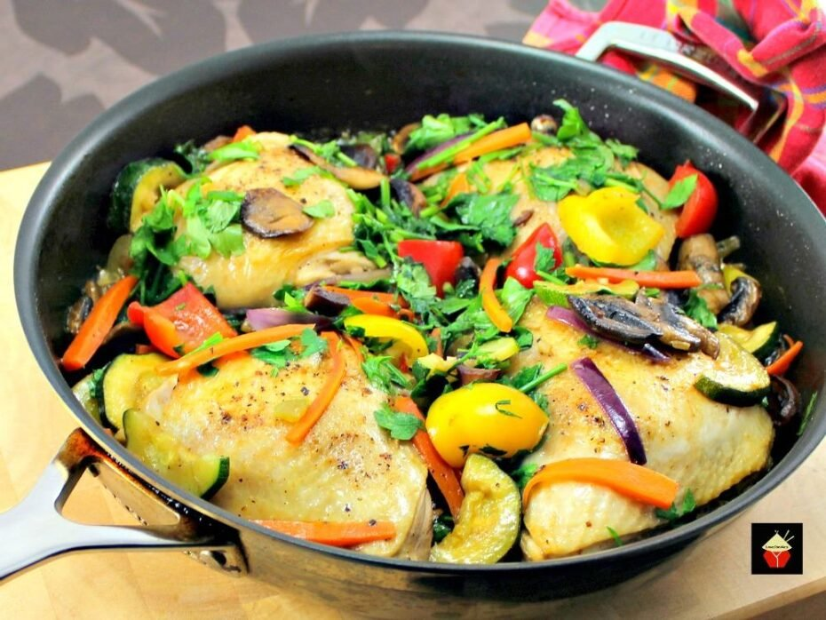 Easy Chicken Skillet Dinner is made from scratch using fresh ingredients, a whole meal all cooked in one pan. Juicy chicken and fresh vegetables make a perfect dinner