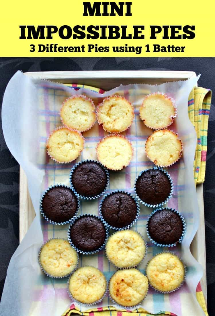 Mini Impossible Pies! Recipe for 3 different flavors using only 1 batter. Great for parties and always so popular. Really easy recipe with regular ingredients