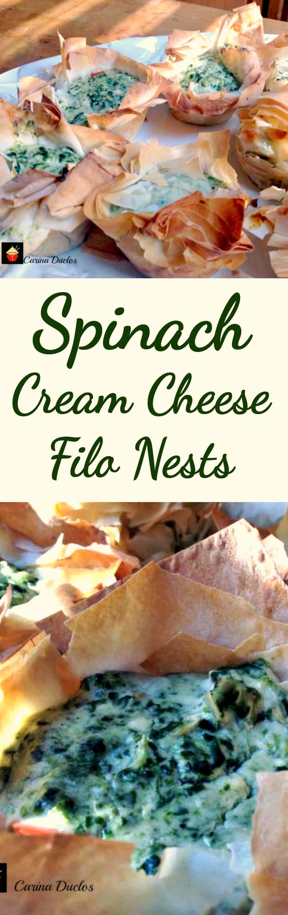 Spinach Cream Cheese Filo Nests. An incredibly flexible quick and easy recipe, great for brunches, parties lunch boxes. Options to add bacon, chicken for the meat lovers too!   Lovefoodies.com