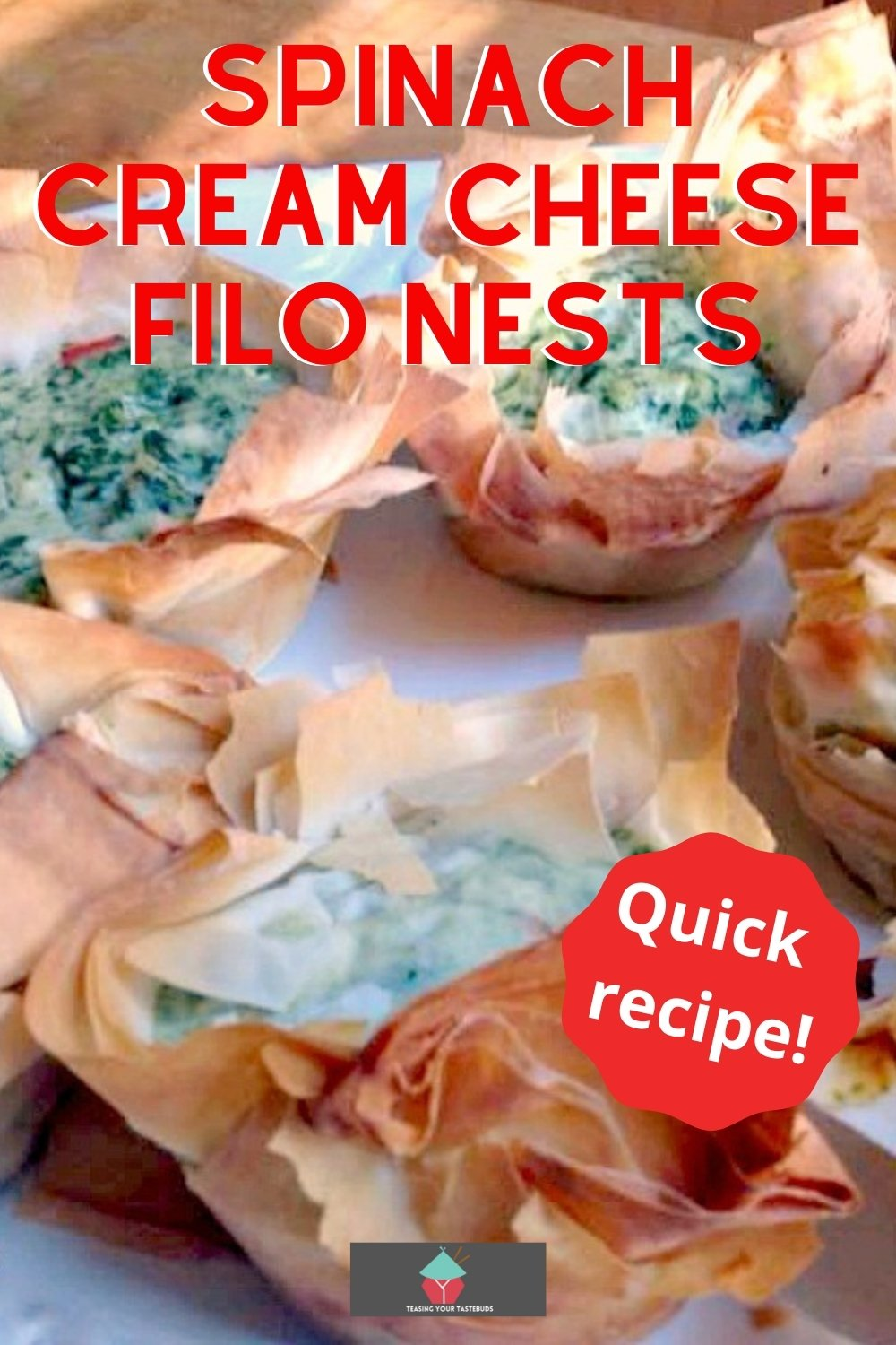 Spinach Cream Cheese Filo Nests. An incredibly flexible quick and easy recipe, great for brunches, parties lunch boxes. Options to add bacon, chicken for the meat lovers too!