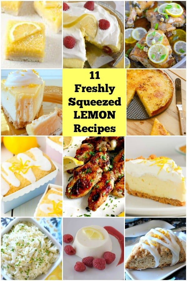 11 Freshly Squeezed Lemon Recipes. A lovely variety of easy cakes, pies, dinners and appetizers for you to enjoy! | Lovefoodies.com