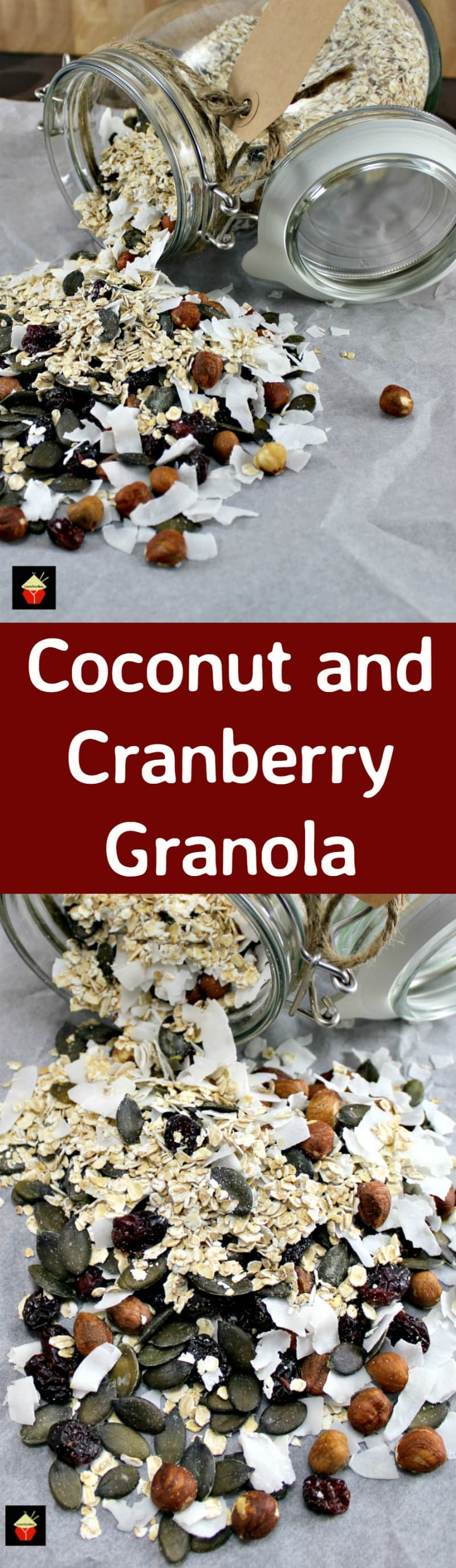 Coconut and Cranberry Granola. A really flexible recipe allowing you to choose the ingredients you love the most! Make up as lovely gifts or prepare for your own eating. It's an easy recipe and will store nicely so you can make ahead. | Lovefoodies.com
