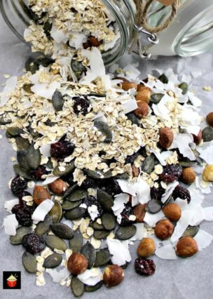 Coconut and Cranberry Granola. A really flexible recipe allowing you to choose the ingredients you love the most! Make up as lovely gifts or prepare for your own eating. It's an easy recipe and will store nicely so you can make ahead.   Lovefoodies.com